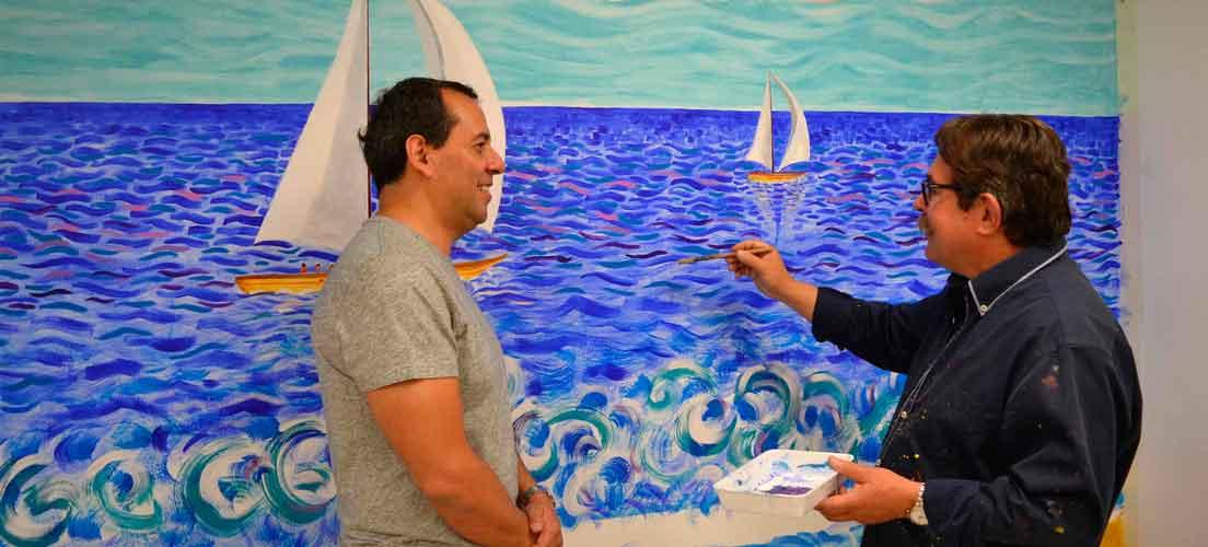 Bolumar pinta un mural para Fernando Rojas