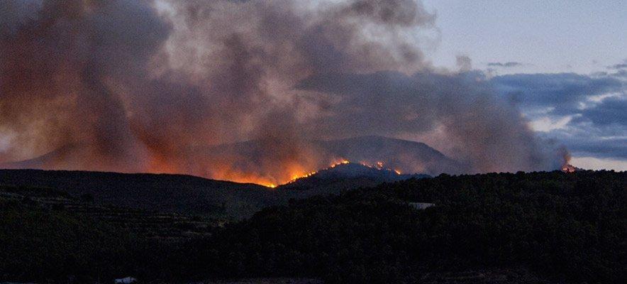 El fuego de la Calderona entra en el término de Segorbe