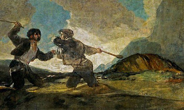 Duelo a garrotazos o La riña es una de las Pinturas negras que Francisco de Goya