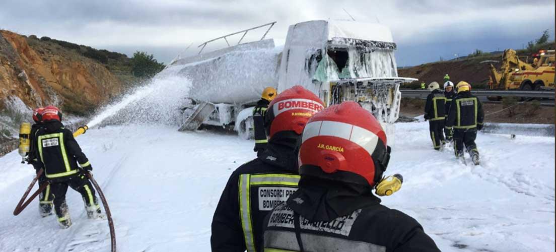 Restablecido el tráfico normal de la A-23 tras retirar el camión accidentado