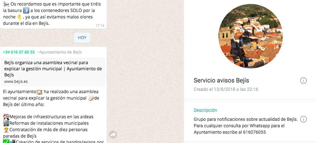 Bejís crea un grupo de whatsapp para informar a los vecinos