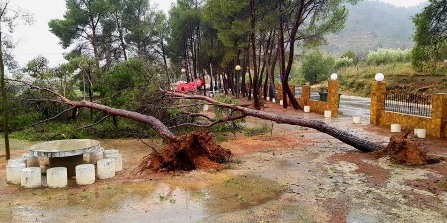 El paraje de La Mina destrozado por la lluvia y el viento