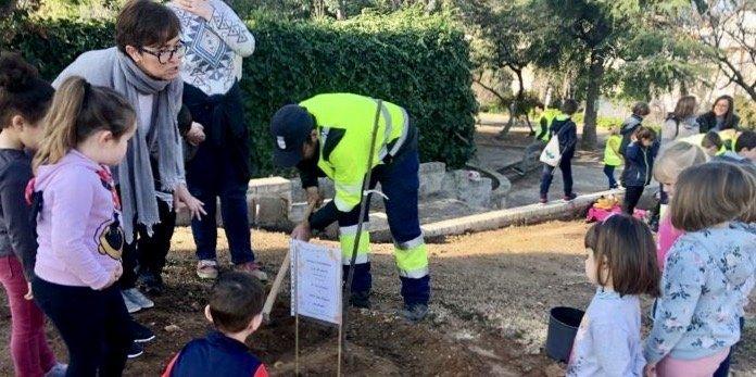 Escolares de Soneja plantan 12 cerezos en el Parque Municipal