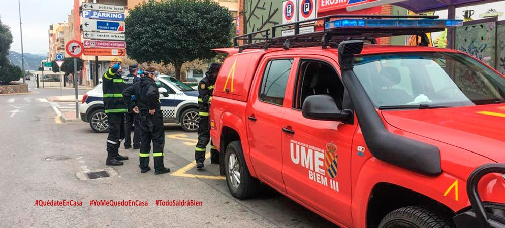 La UME desinfecta las zonas más transitadas de Segorbe