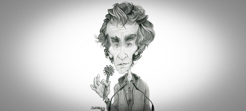 Fernando Simón agradece la caricatura hecha por Jorge Laffarga