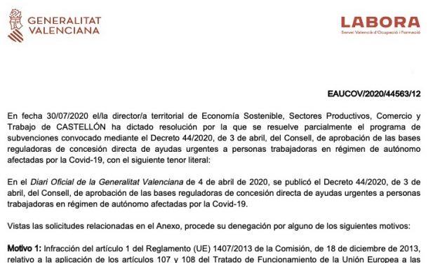 Generalitat Valenciana deniega ayudas a autónomos por falta de fondos