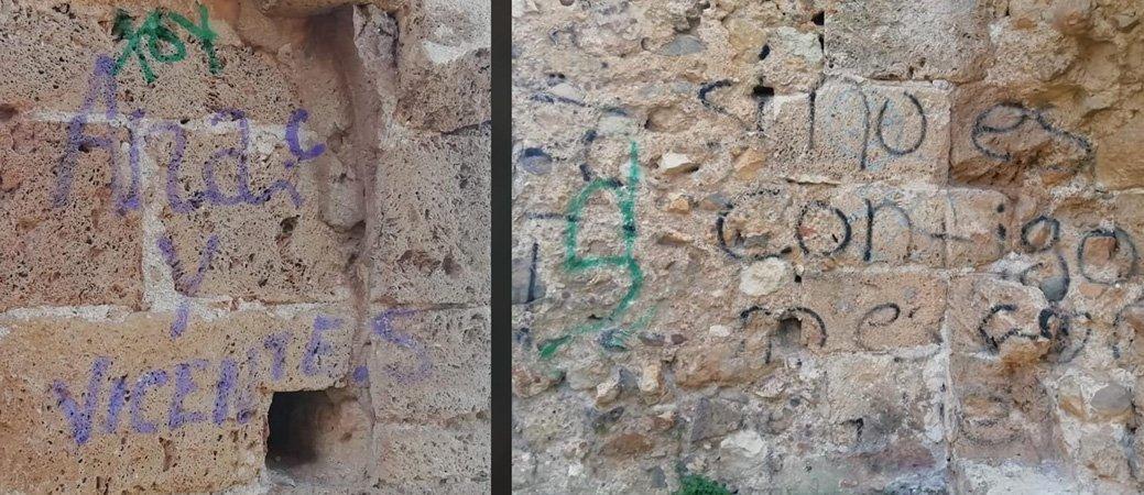 El castillo de Castellnovo es cubierto de grafitis