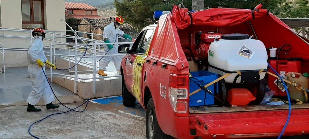 Los bomberos vuelven a desinfectar pueblos del Alto Palancia